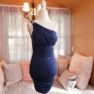 NWT Blue One Shoulder Formal Dress w/Rhinestone